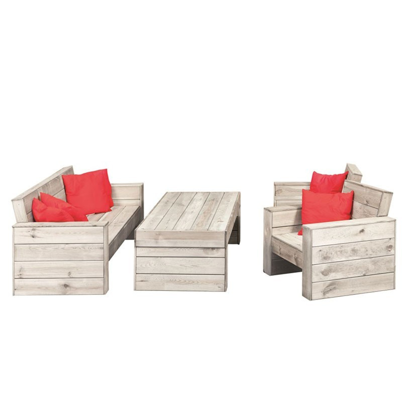 Lounge set grey yourself + 4 jars of woodstain - Tuindeco