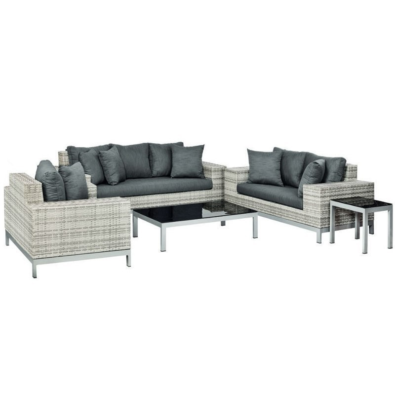 Luxurious Nashville Wicker lounge diner set in mottled grey - Tuindeco
