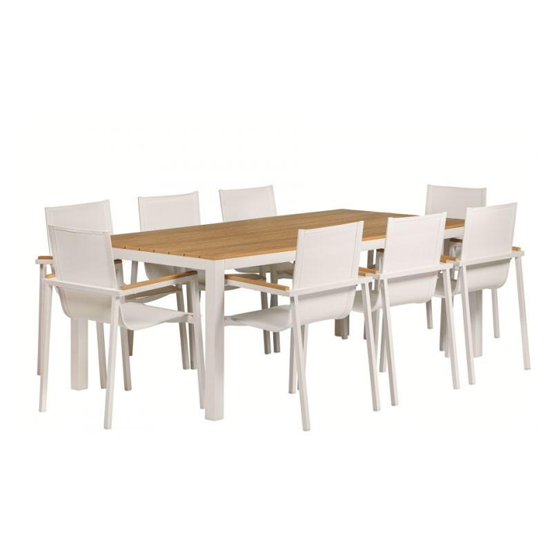Luxury dinner set Menphis aluminium white - Tuindeco