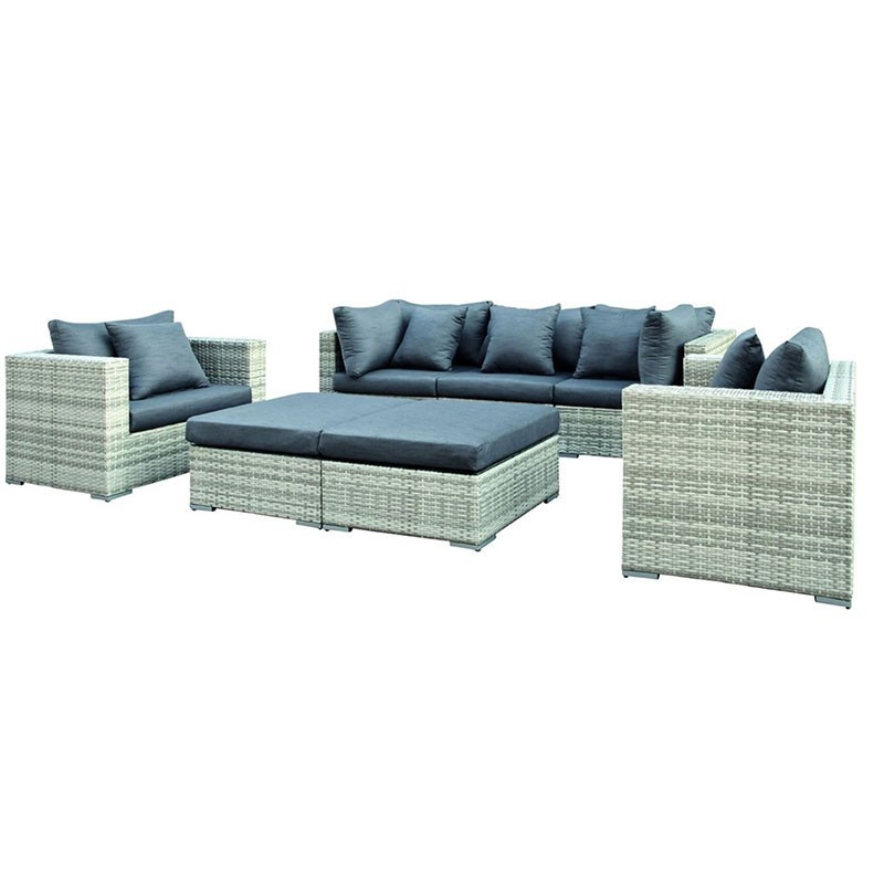 Lounge set Glendale Wicker grey - Tuindeco