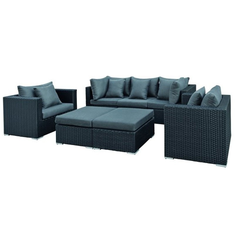 Bakersfield Wicker Lounge Set Black - Tuindeco