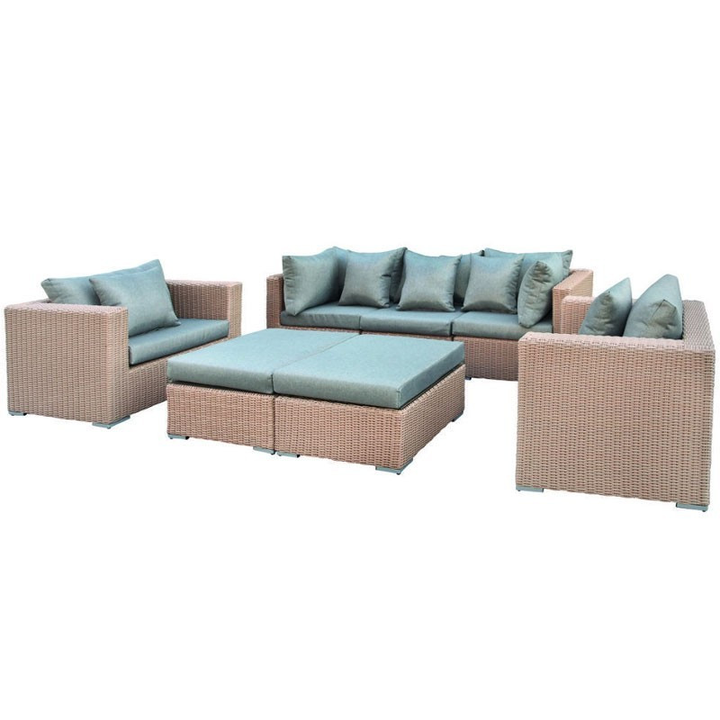 Long beach lounge set Wicker Light brown - Tuindeco