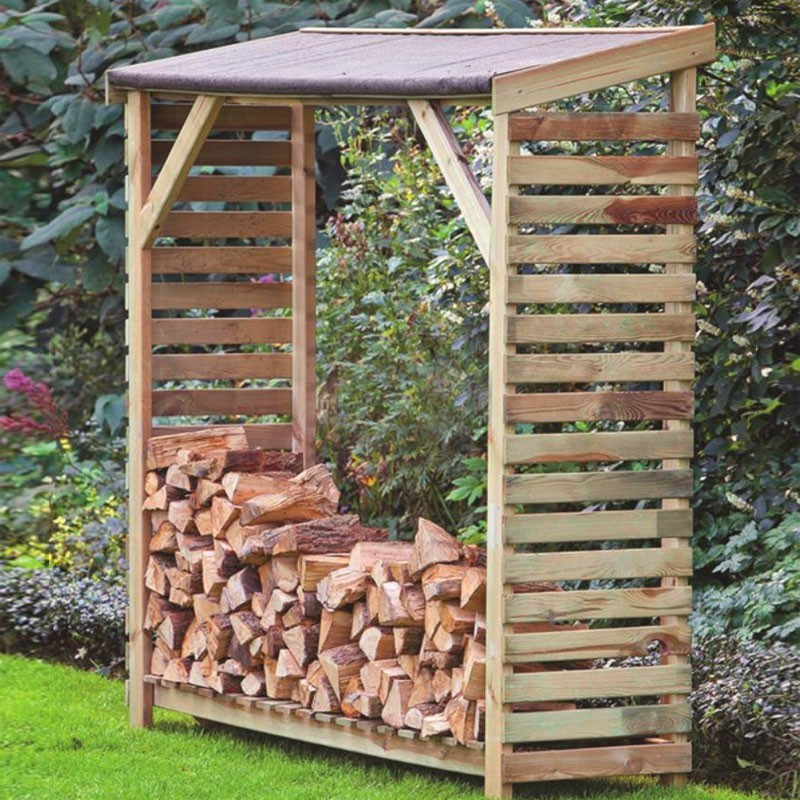 Firewood storage shed with bitumen board - Tuindeco