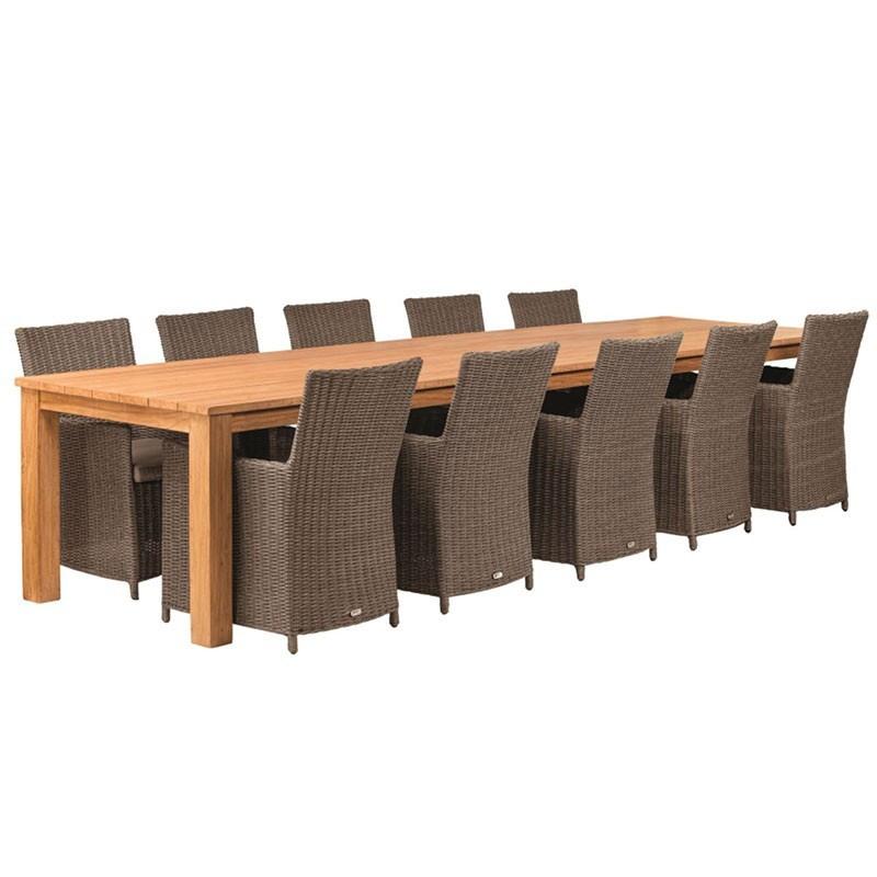 Rustic garden table in robust teak wood 400X100cm - Tuindeco