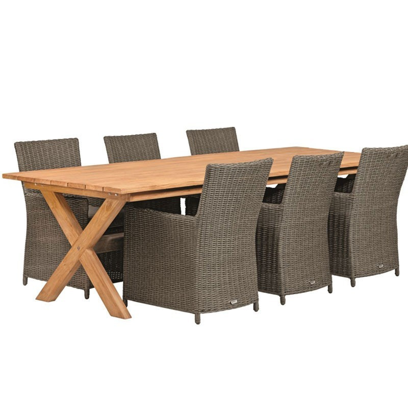 Rustic teak rustic garden table with crossed legs 350X100cm - Tuindeco