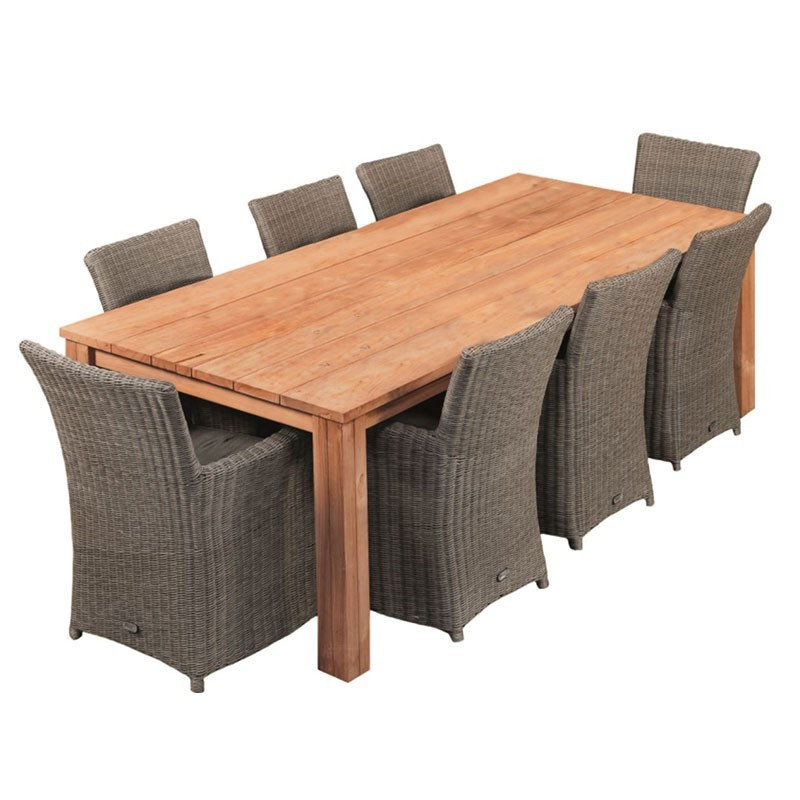Rustic garden table in robust teak wood 250X100cm - Tuindeco