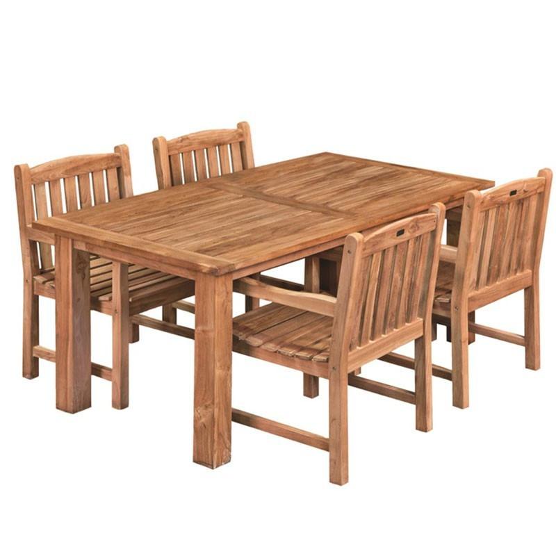 Modern teak garden table 250X100cm - Tuindeco