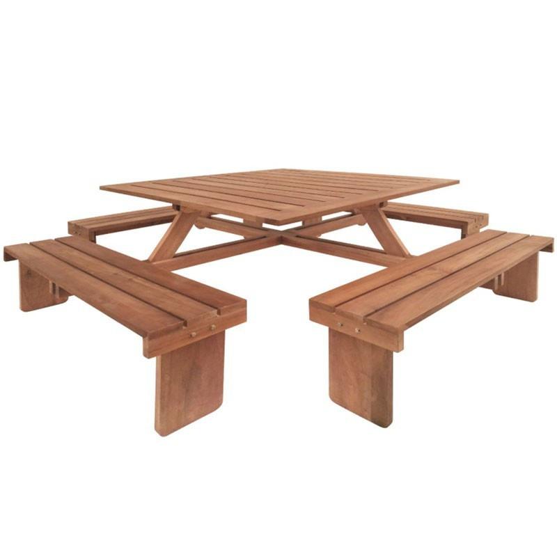 Square picnic table - Hardwood - Tuindeco