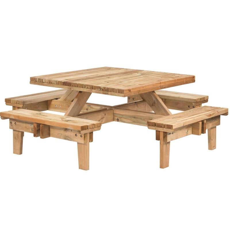 Square picnic table - Impregnated Fir - Tuindeco
