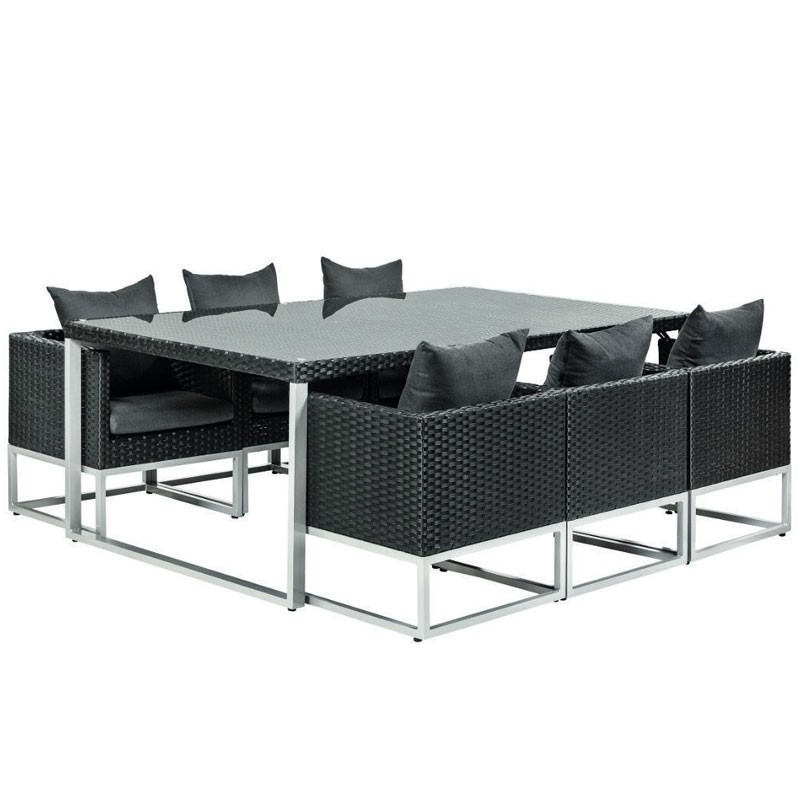 Luxurious Springfield Wicker black lounge diner set - Tuindeco