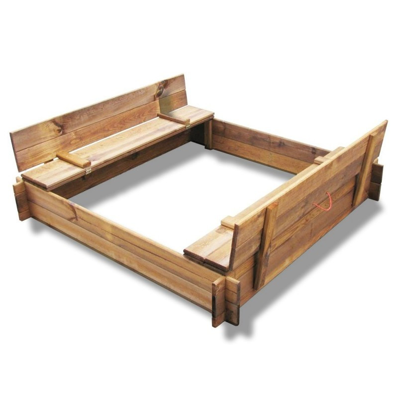 Sandbox with lidded benches - 120 x 120 cm - Tuindeco