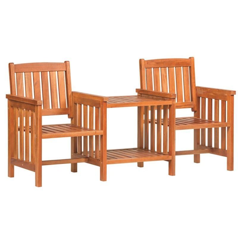 Double seat with shelf - Teak - Tuindeco