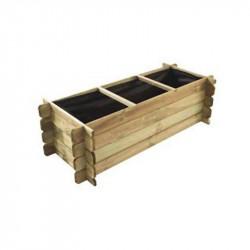 Vegetable garden with wooden rectangle 3 compartments 140x60x40cm - VG garden