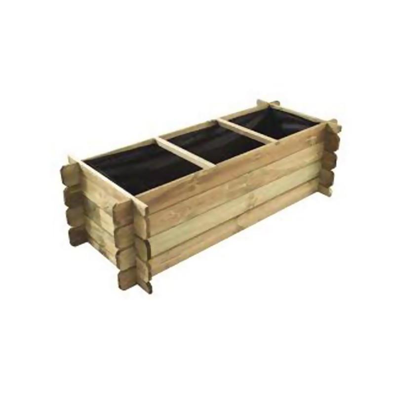 Wooden vegetable garden rectangle 3 compartments 140x60x40cm - VG garden