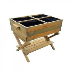 Potager en bois sur pieds à hauteur réglable 80x60x80/100cm - VG garden