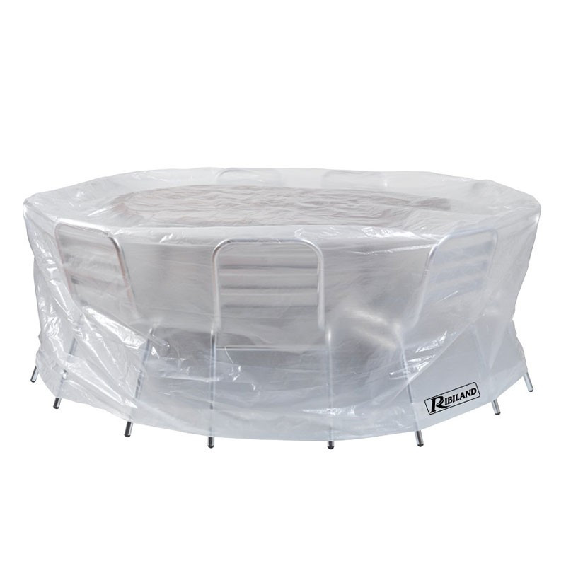 Translucent cover for round table + chairs 90g/m² - 200x80cm - Ribiland