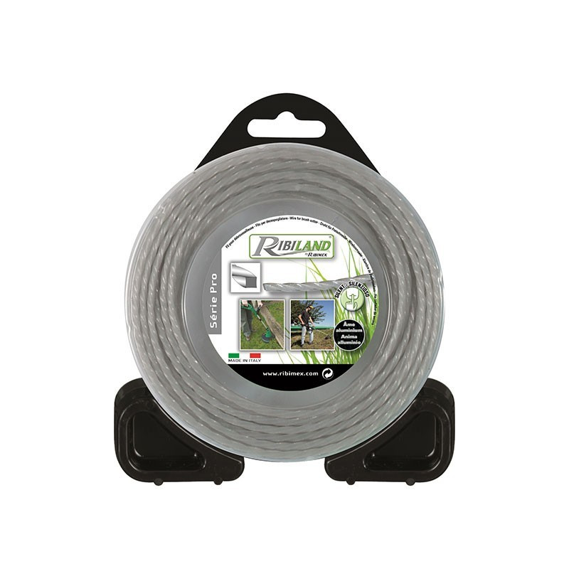 Nylon/aluminium square twisted wire 15m - ø2.4mm - Ribiland