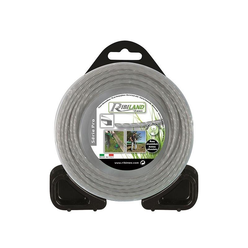 Square twisted nylon/aluminium wire 15m - ø3mm - Ribiland