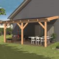 Kit toit en mélèze pour appentis - 600 x 300 cm - Tuindeco