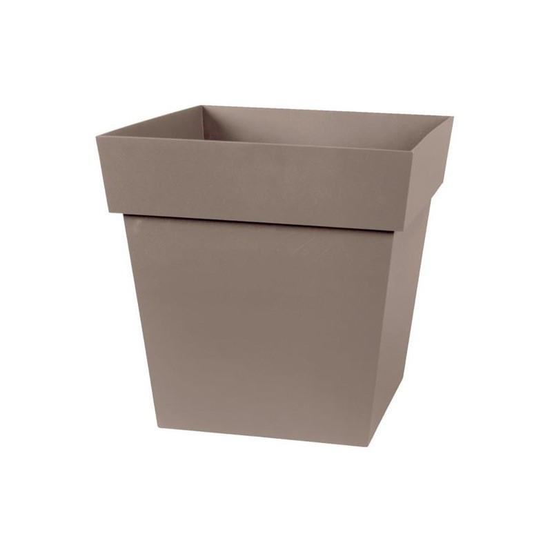 Square Tuscany pot - Taupe - 87 L - 50 cm - EDA PLASTICS