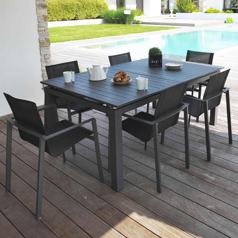 Miami garden furniture 6 to 10 places -- Alu - Charcoal grey - 180 - DCB Garden