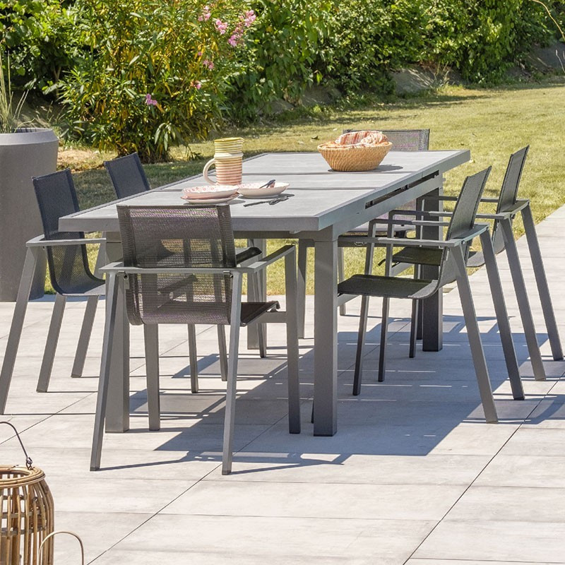 Garden furniture set Venice 6 to 10 places -- Alu - Charcoal grey - DCB Garden