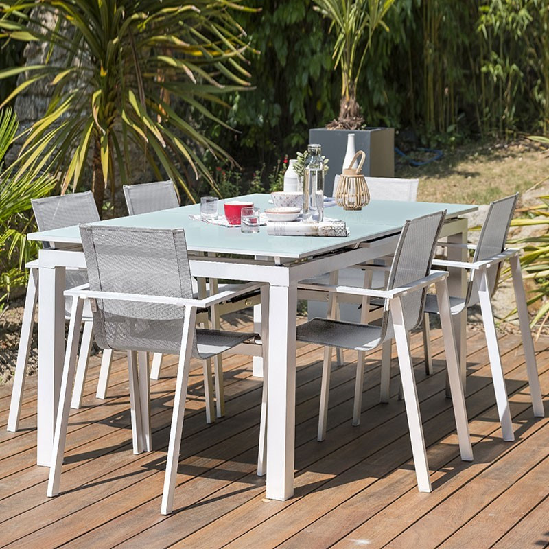 Garden furniture set Mykonos 6 places - Glass table - DCB Garden
