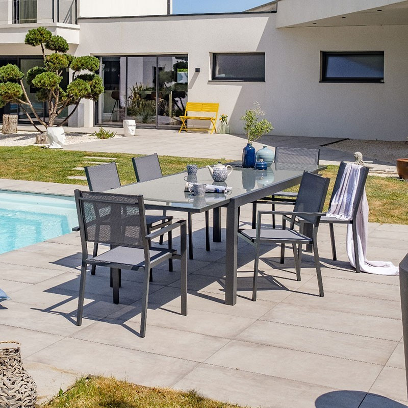 Garden furniture Toléde 8 to 10 places - - Aluminium and glass - 300 - DCB Garden