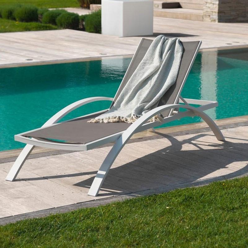 Lounge chair - Barcelona - White - Textilene - DCB Garden