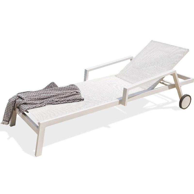 Aluminium deckchair - Ibiza - White - DCB Garden