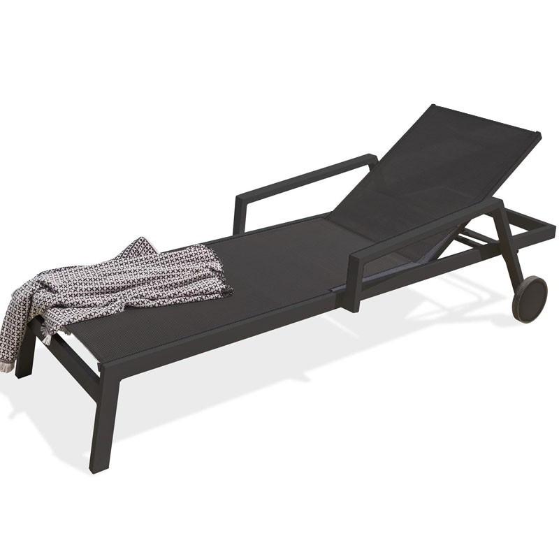 Aluminium Lounge Chair - Ibiza - Black - DCB Garden