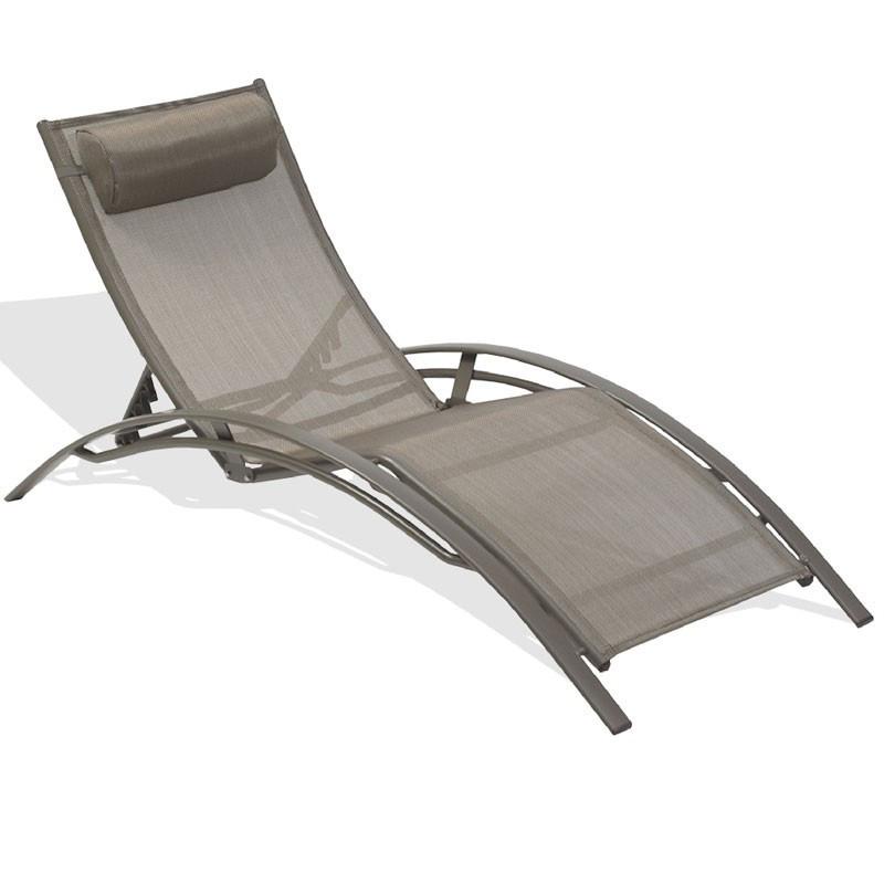 Aluminium and textilene chaise longue CL176 - Cappuccino - DCB Garden