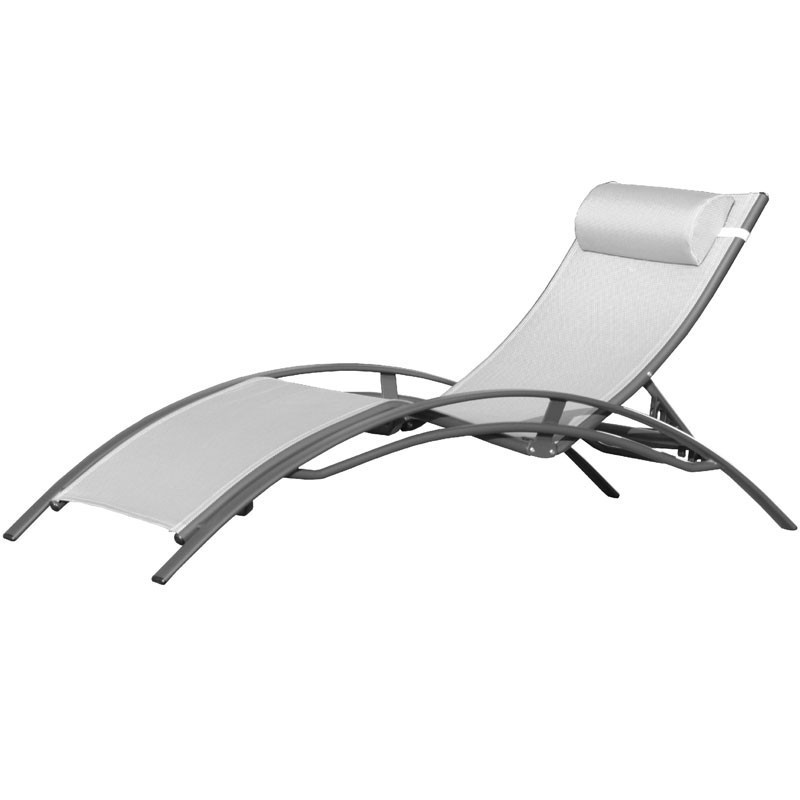 Aluminum and textilene chaise longue CL176 - Grey - DCB Garden