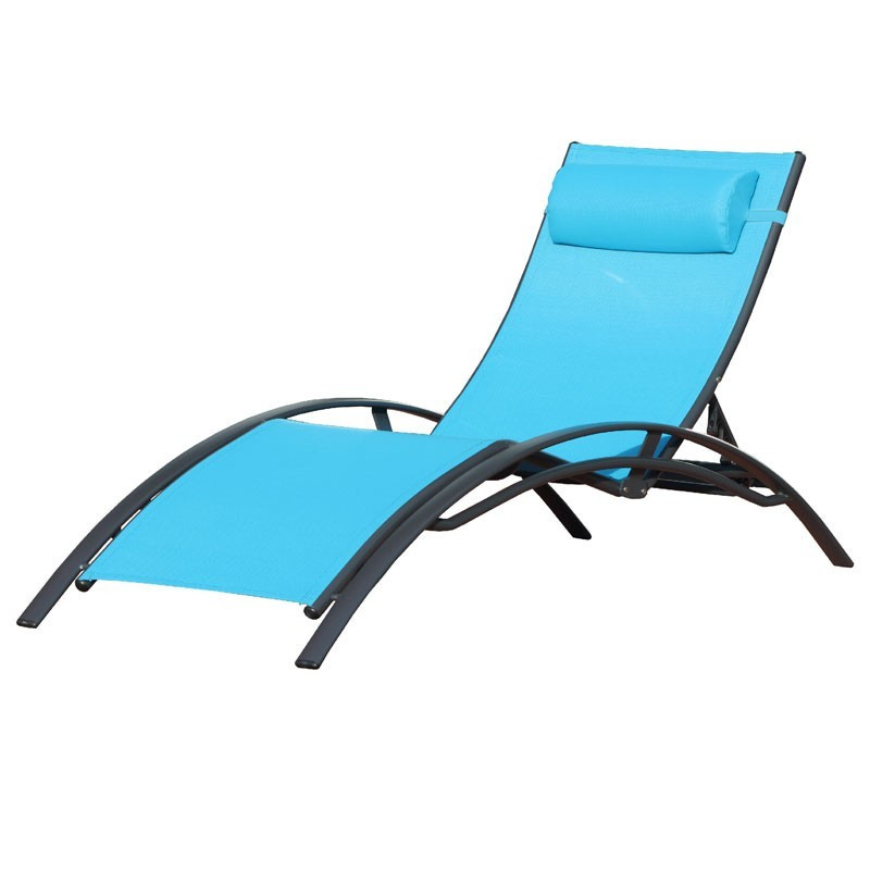 Aluminum and textilene CL176 chaise longue - Turquoise - DCB Garden