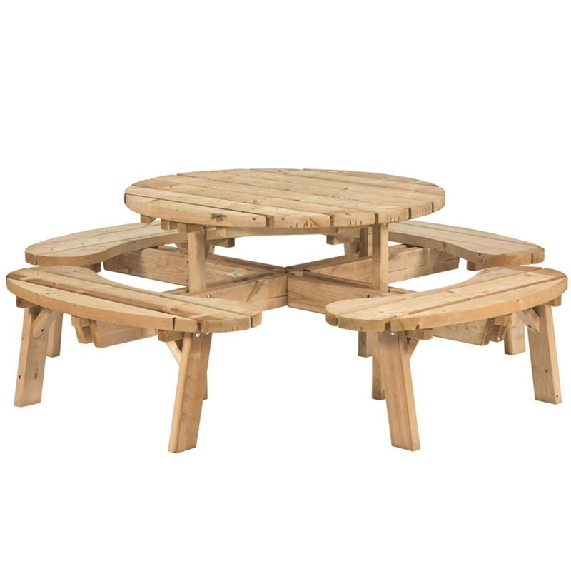 Round picnic table - Impregnated fir tree - Tuindeco