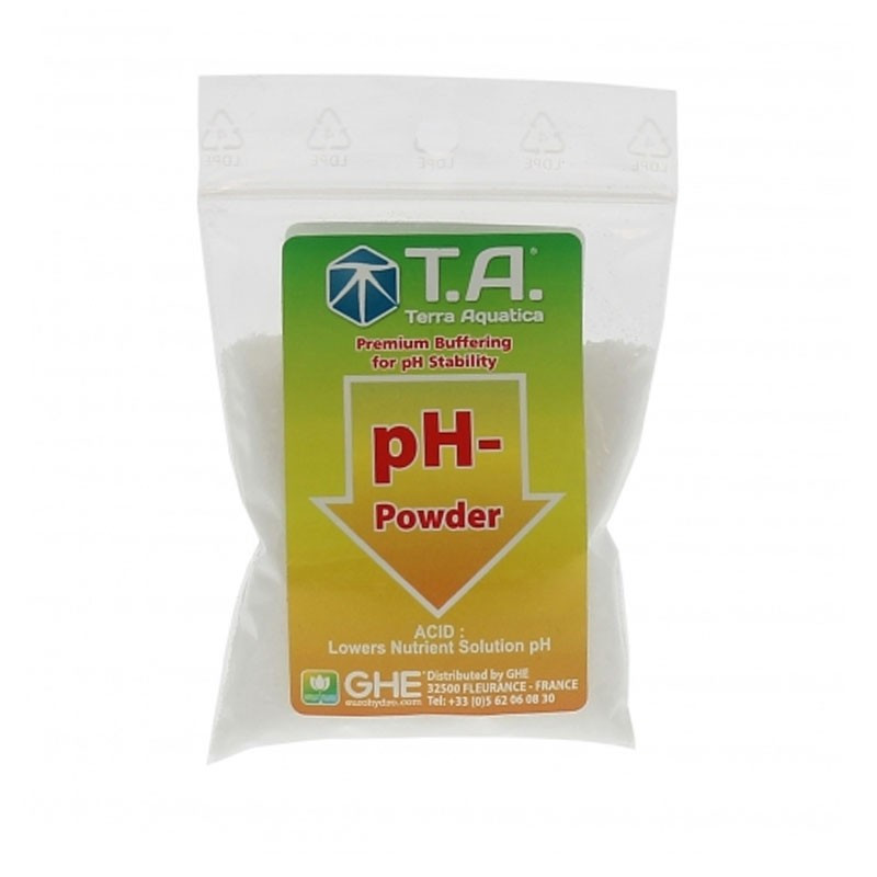 Ph Down Sec 25 g - GHE The powdered ph minus lowers the ph