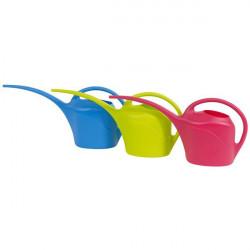 Arrosoir long bec 2,5L Fluo vert,framboise et bleu - arrosage des plantes en pots