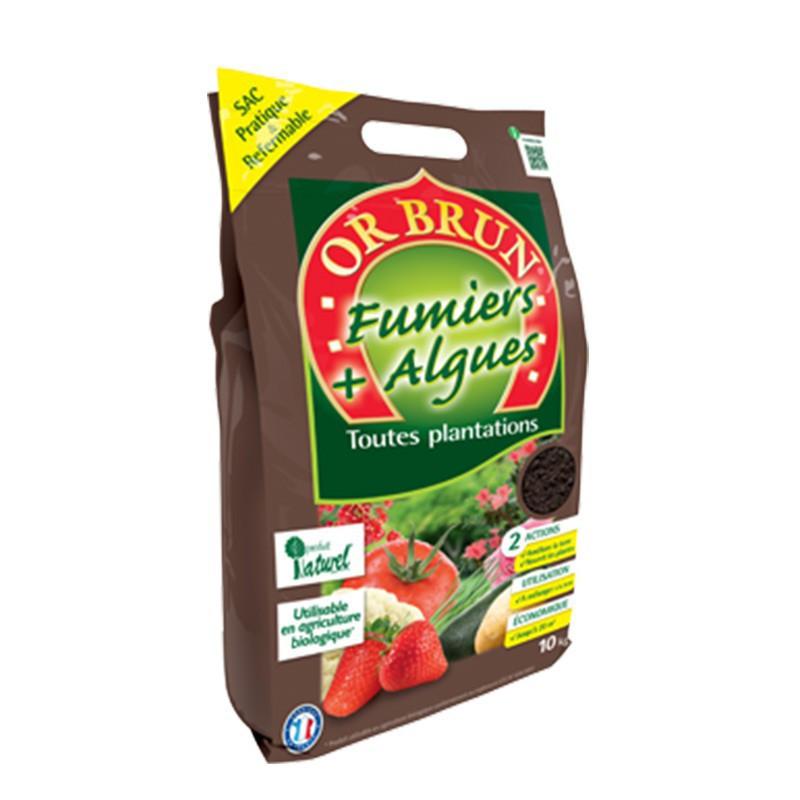 Engrais - Fumier et Algues Bio Pratique 10Kg - Or Brun