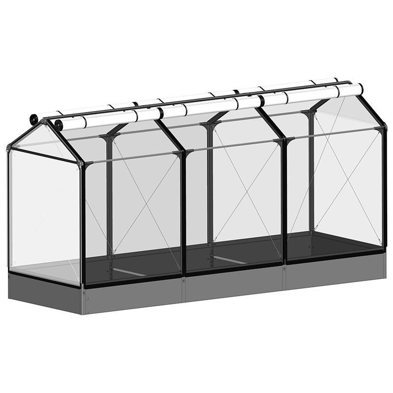 GrowCamp Tall Air Basic 30cm raised vegetable garden with greenhouse - 120x360x180cm